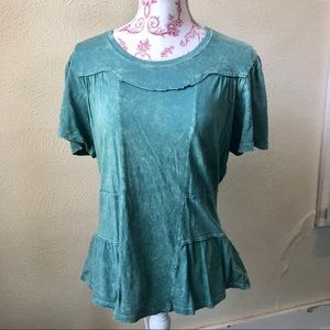 Anthropologie Deletta Washed Out Top M Teal Green